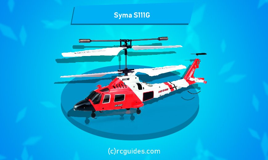 Syma S111G red white helicopter with two fans.
