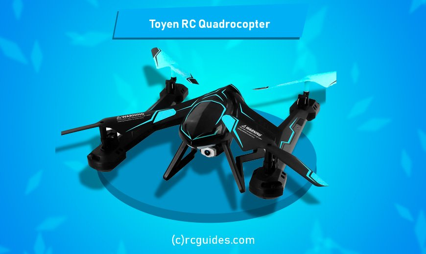 Toyen rc quadrocopter with camera and futuristic design.