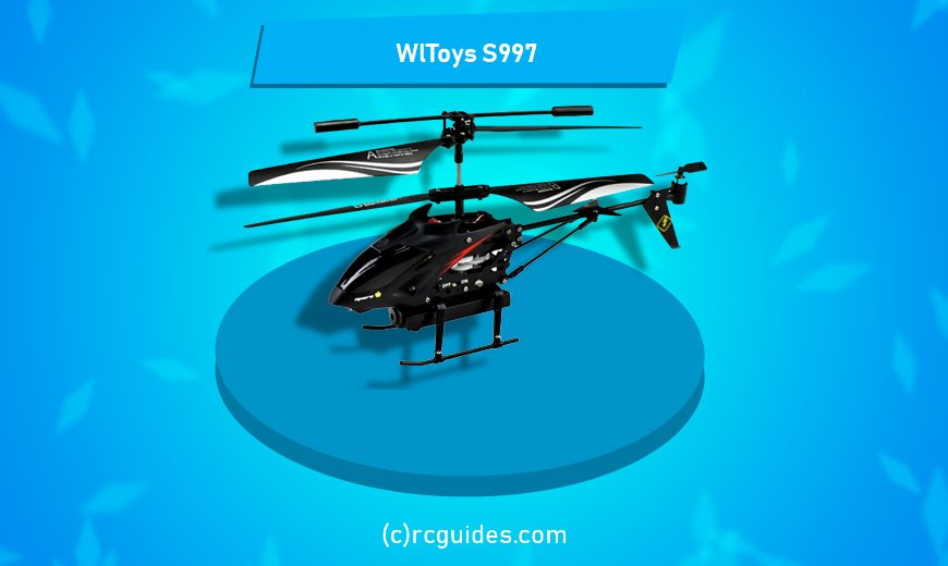 WlToys S997 black rc helicopter with tiny camera.