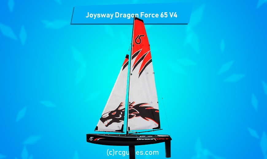 Joysway Dragon Force 65 V4 RC Sailboat with dragon print on sail.