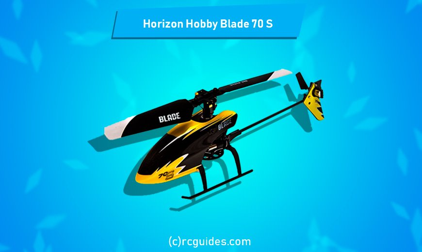 Horizon Hobby Blade 70-s hand size yellow indoor rc helicopter.