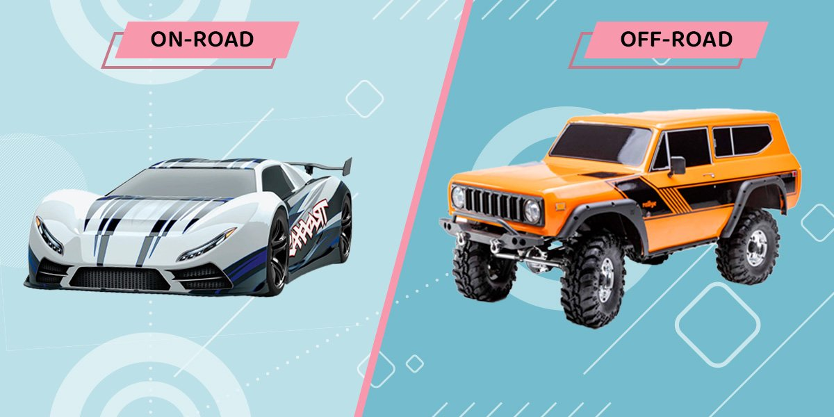 Comparison between on-road and off-road rc cars.